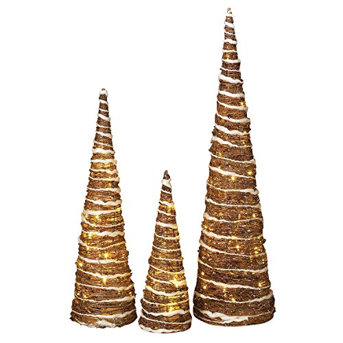 Set of 3 Lighted Champagne Grapevine Trees White Trim and Gold Glitter (Grapevine Topiary)
