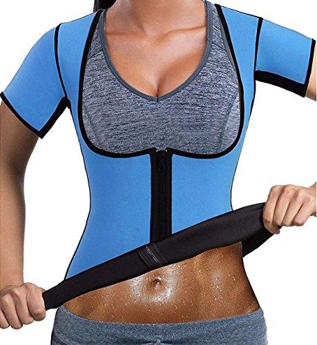 Line Girdle (Palidong Women's Neoprene Slimming Body Shaper Tank Top Sweat Hot Sauna Vest Tummy Fat Burner Weight Loss Short Sleeves (Blue, XX-Large (Fit 37-39.4 Inch Waistline)))