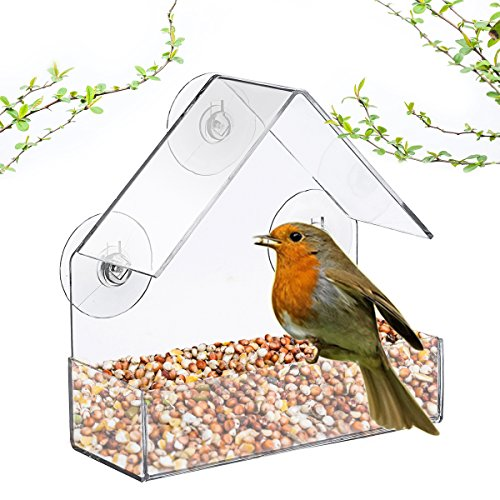 SAFETYON Bird Feeder - Birdhouse - Window or Hanging Bird Feeder - 2in1 functions - Clear Acrylic with Drain Holes Strong Suction Cups - Squirrel Resistant and Weatherproof Design For (Birdhouse Feeder)