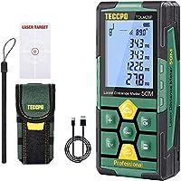 Télémètre laser 50m TECCPO, USB 30mins Charge rapide, Décoration intérieure, Capteur d'angle électronique, 99 stockage,...