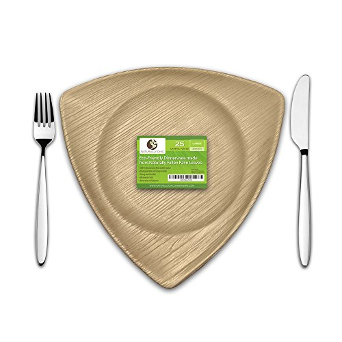 Crystal Pie Plate (Disposable Eco Palm Paper Plates: Square Compostable, Biodegradable Heavy Duty Large Dinner Party Plate - Comparable to Bamboo Wood Fiber - Nice, Elegant Looking Plant Based Dishware: 25 Pack)