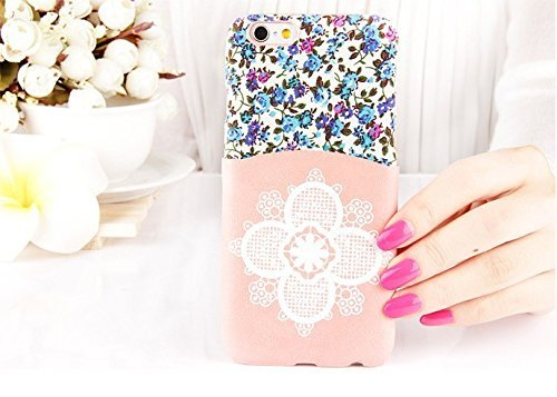 iPhone 6 Case, Cute Hand Made Flower Lace iPhone (4.7) Case Card Holder Protective iPhone 6 4.7 inch Case (Lace-Pink)