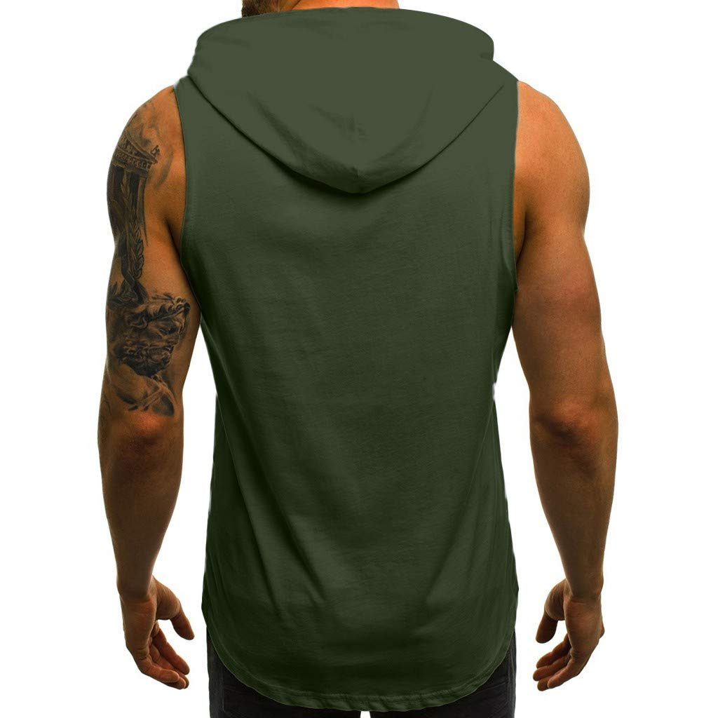 HCFKJ T-Shirt for Men Sports Suit Casual Solid Color Men Fitness Muscle Print Sleeveless Hooded Bodybuilding Pocket Tight-Drying Tops