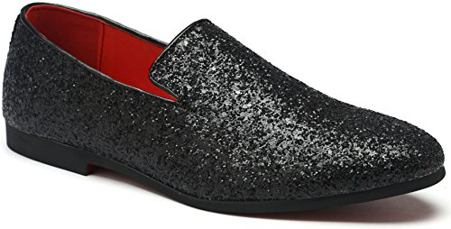 Men's Sequin Loafer Shoes Metallic Slip On Nightclub Shoes Textured Glitter Loafers Luxury Wedding Shoes (7, Black) by Gentle Shoes Mall