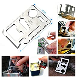 Outdoor Survival Kit 7-in-1, Oumers Portable Emergency Tools Gear Set Bundle, Magnesium Fire Starter Compass Pocket Knife Whistle Saber Card Wire Saw, For Outdoor Picnic Camper Explore Hunting In Car