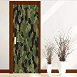 L-QN Static Cling Glass Film Seamless Green and Brown Camouflage Privacy Window Film Decorative Window Film W38.5 x H79