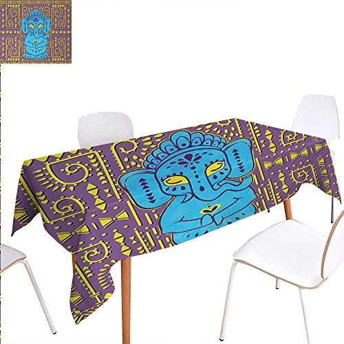Warmer Oil Elephant Tribal - Warm Family Bohemian Washable Tablecloth Big Eared Elephant with Tribal Aztec Style Patterns Retro Groovy Design Print Waterproof Tablecloths 60
