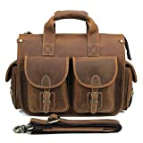 Crazy Horse Leather Tote Bag Vintage Leather Business Bag Large Capacity Briefcase 13 Inch Brown