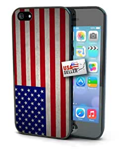 USA America American Grunge Vintage Flag Black Plastic Cover Case for iPhone 6 Plus (5.5 inch)