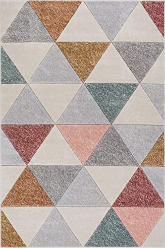 Well Woven Suave Angles Multi Dusty Pink Red Copper Blue Grey Modern Geometric Hand Carved 4x6 (3