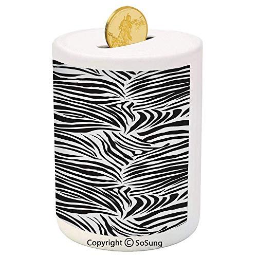 - Zebra Print Ceramic Piggy Bank,Striped Zebra Animal Print Nature Wildlife Inspired Fashion Simple Illustration 3D Printed Ceramic Coin Bank Money Box for Kids & Adults,Black White