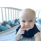 "Baby Crib Bumper Knotted Braided Plush Nursery Cradle Decor Newborn Gift Pillow Cushion Junior Bed Sleep Bumper (White-Gray-Blue, 118""/3 meters)"