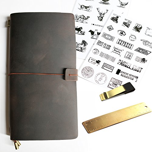 New Refillable Leather Notebook Journal - Vintage Style Gift, Best for Writing, Drawing, Fountain Pen Users, Travelers. Surprise set: Brass Ruler+Brass Pen Clip+Classic Stickers+Card Pocket - Vanoo