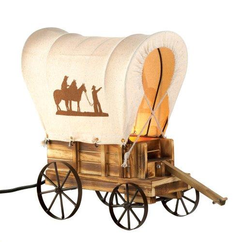 Smart Living Company 10015679 Western Wagon Table LAMP, Brown