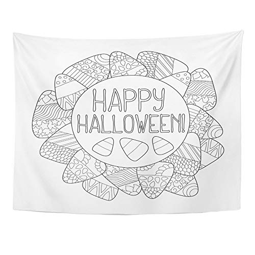 Emvency Tapestry Polyester Fabric Print Home Decor Helloween Candy Corn Coloring Page Happy Halloween Sweet Kernel with Book Wall Hanging Tapestry for Living Room Bedroom Dorm 60x80 Inches -
