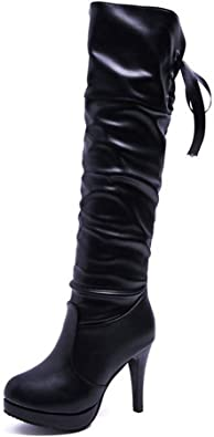Hoxekle Women Over The Knee High Boots Winter Fashion Long High Heel Long Boots Black Pointed Toe Leather Casual Outdoor Shoes