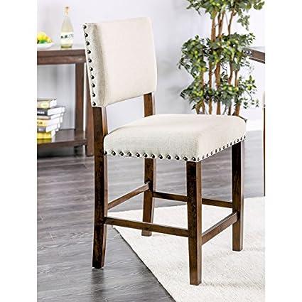 Bon Furniture Of America Banea Linen Nailhead Brown Cherry Counter Height Chair  (Set Of 2)