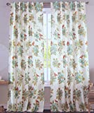 Cottage Country Floral Print Window Curtain Panels Pair 100% Cotton Drapes Pair of Curtains 2 Panels 50 by 96-inch Turquoise Bright Orange Taupe Gold Ivory by Envogue