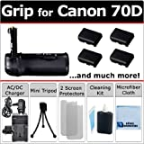 Multi-Power EOS 70D Battery Grip for Canon EOS 70D DSLR Camera + 4 LP-E6 Long Life Batteries + AC/DC Charger for Home and Car + Complete Deluxe Starter Kit by eCost (BG-14 BG14)