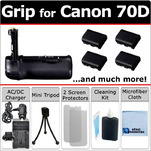 Multi-Power EOS 70D Battery Grip for Canon EOS 70D DSLR Camera + 4 LP-E6 Long Life Batteries + AC/DC Charger for Home and Car + Complete Deluxe Starter Kit by eCost (BG-14 BG14) by eCostConnection