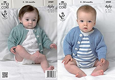 347a9a1c2b122d Image Unavailable. Image not available for. Colour  King Cole 3989 Knitting  Pattern Baby Cardigans and Romper Suits ...