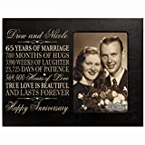 Personalized 65th Year Wedding Anniversary Gift for Couple Custom engraved 65th Wedding Anniversary Gifts Frame Holds 1 4x6 Photo 8'' H X 10'' W (Black)