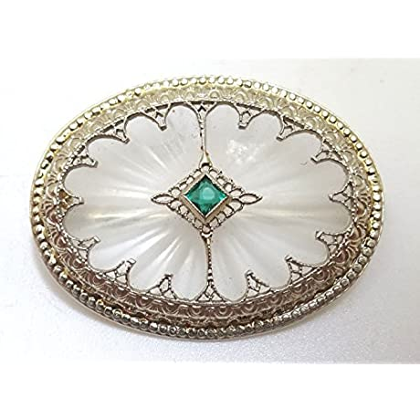 14K Gold Art Deco Crystal Quartz Brooch 110