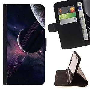 Momo Phone Case / Flip Funda de Cuero Case Cover - Planetas Universo Cielo púrpura Estrellas Cosmos - HTC One A9