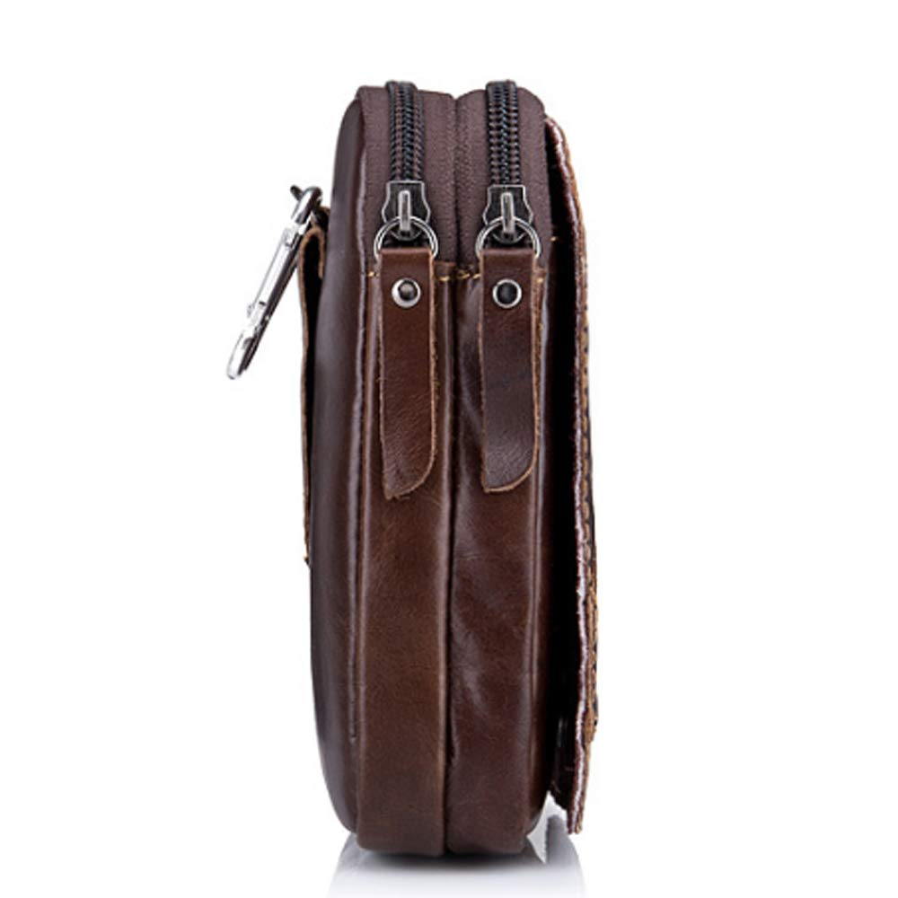 Color : Brown, Size : M Rouroumaoyi Mens Pockets Leather Belted Mobile Phone Bag First Layer Leather Pants Belt Multi-Function Slingshot Bag
