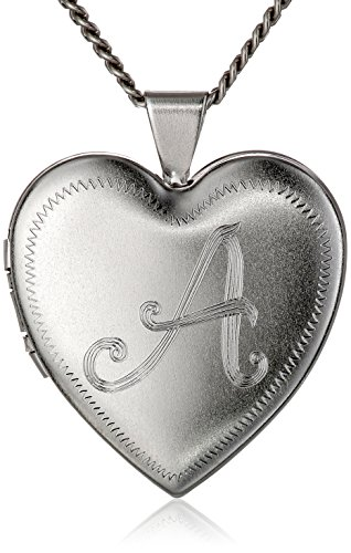 "Rhodium-Plated Initial ""A"" Heart 26mm (1"") Locket Necklace, 24"""