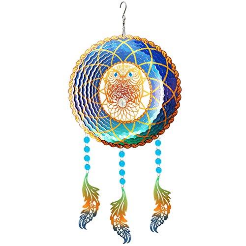 """FONMY Suncatcher 3D Wind Spinner Stainless Steel W/Crystal Beads, Dreamcatcher, Rust Resistant, Hanging Ornament Indoor Outdoor Garden Craft. Multi Color Owl-10 Diameter x 21"""" inch Long"""