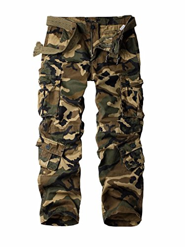 AUSZOSLT Men's Cotton Military Cargo Pants, 8 Pockets Casual Work Combat Trousers Khaki Camo 38