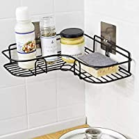 Perfect Pricee Stainless Steel Bathroom Corner Shelf Organizer Storage Hanging Shower Caddy Rack (Black)