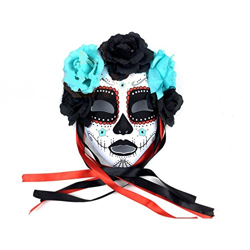 Veil Entertainment Day of The Dead Dark Flowers Face Mask, White Black, One Size