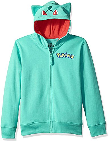 Pokemon Big Boys Bulbasaur Costume Hoodie, Teal,