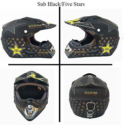 T Zertifiziert Rockstar Multicolor Mit Brillen Handschuhe Maske CHEYAL Adult Motocross Helm MX Motorradhelm ATV Scooter ATV Helm D O S, M, L, XL