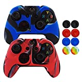 xbox 360 controller cover nfl - Hikfly Super 2pcs Thicker Rubber Oil Silicone Controller Cover with 8pcs Thumb Grips Caps Kits for Xbox One Controller (Camouflage Blue Red)