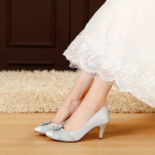 LUXVEER Satin Women Shoes Wedding Shoes With Rhinestone Bridal Shoes Lace Wedding  Shoes   Heels 2