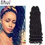 Lihui 6Pcs/Lot Goddess Locs Crochet Hair Wavy Faux Locs with Curly Ends Synthetic Braiding Hair Extension (14inch, 1B Color)