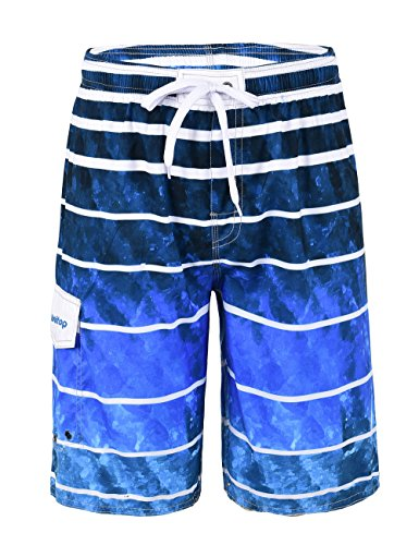 Hawaiian Print Swim Trunks (Unitop Men's Swim Trunks Quick Dry With Lining Blue-1 36)