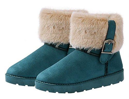 Eshion Femme Bottes De Neige Bottines Chaussures Chaudes Vert