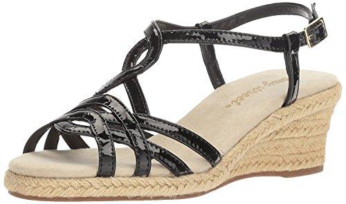 Easy Street Women's Ryanne Espadrille Wedge Sandal, Black Patent, Size - Black Patent Espadrilles