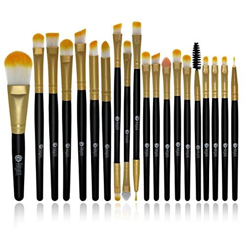 FEIYAN Makeup Brush Set Eyeshadow Brushes Wood Handle Makeup Brush Set Professional Eyeliner Lip Powder Liquid Cream Cosmetic Brushes Kit (20 pcs, Golden Black)