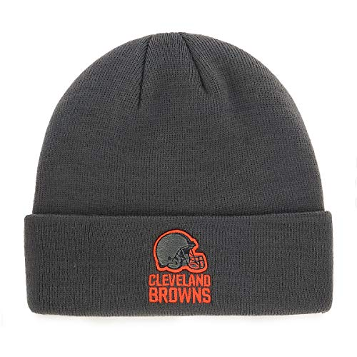 NFL Cleveland Browns Men's Raised OTS Cuff Knit Cap, Charcoal, One Size