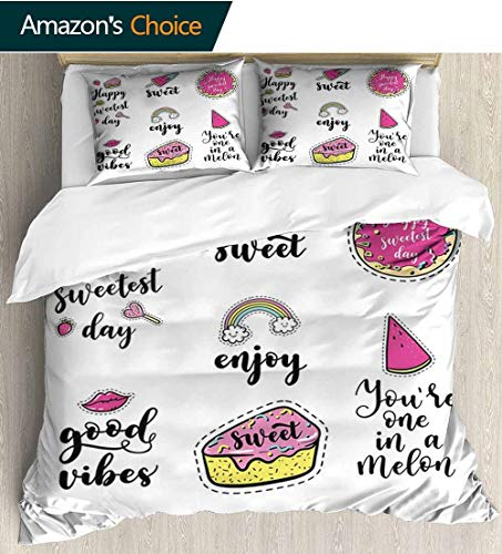(Good Vibes 3D Bedding Quilt Set,Happy Sweetest Day Enjoy and Love Ice Cream Cake Donut Lips Watermelon Candies Reversible Coverlet,Bedspread,Gifts for Girls Women 68