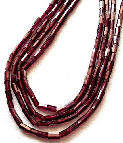 """Beads Bazar Natural Beautiful jewellery 1 strand Natural PINK GARNET faceted pipe shaped beads, Tube shaped beads, size - 3x5 mm to 3x6 mm, 13"""" strand [E0698]Garnet beadsCode:- NY-8251"""