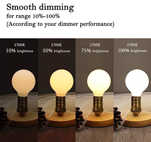 KGC LED Edison Globe Light Bulb, Warm White 2700K CRI 95, LED Filament Light Bulb, 4.5W Equivalent to 40W, G80 Dimmable 450LM E26 Base, Bathroom Vanity Mirror Light,Frosted Glass (G80-2700K-4Pack)