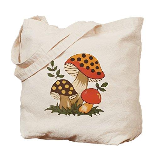 CafePress Merry Mushroom Natural Canvas Tote Bag, Cloth Shopping - Mushroom Merry