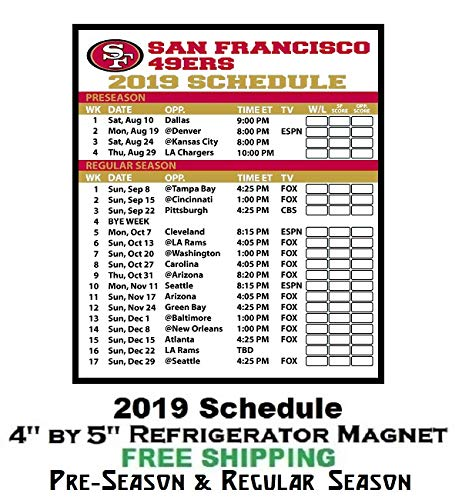 photograph about 49ers Printable Schedule known as : San Francisco 49ers NFL Soccer 2019 Comprehensive