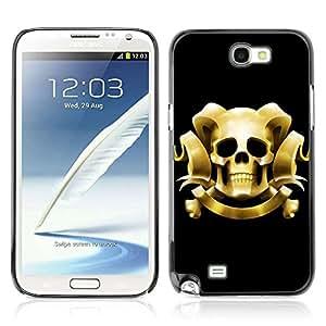 A-type Arte & diseño plástico duro Fundas Cover Cubre Hard Case Cover para Samsung Galaxy Note 2 II / N7100 ( Fresco del cráneo con los cuernos )